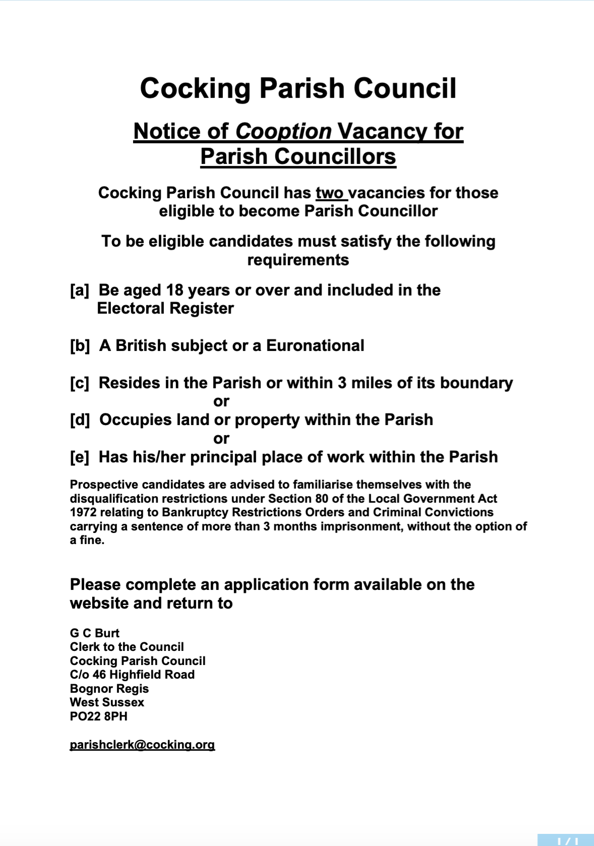 Casual Vacancy Notice Parish 2019